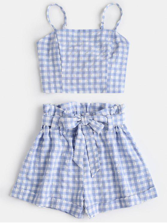 fancy Plaid Cami Top and Belted Shorts Set - LIGHT BLUE L