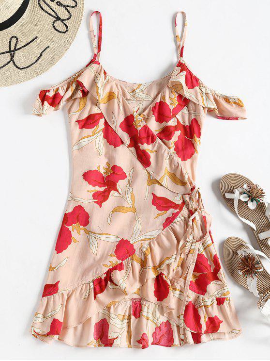 Vestido de verano floral con hombros fríos - Multicolor L