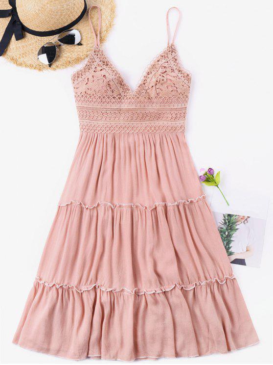 Vestido de espalda de ganchillo con cintura y lazo - Rosa Claro L
