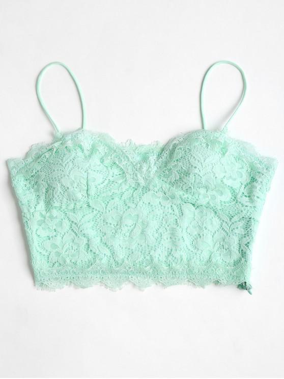 Camisola de alças de renda Cami recortada - Menta Verde L