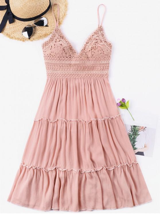 Crochet Império cintura Bowknot vestido de volta - Luz rosa M