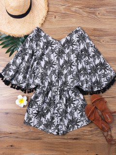Tropical Print V Neck Romper - Multi M