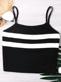 Color Block Cropped Cami Top - Black L
