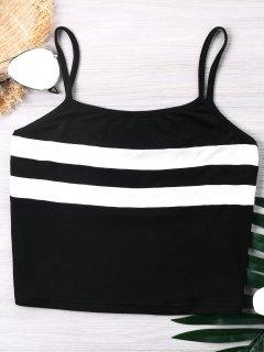 Color Block Cropped Cami Top - Black Xl