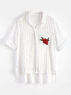 High Low Embroidered Stripes Shirt - White M