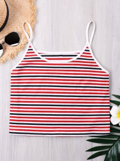 Ribbed Striped Cropped Camisole - Red L