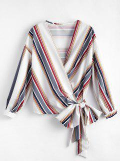 Cropped Wrap Striped Top - Gray S