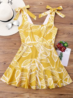Tropical Leaf Print High Waisted Bowknot Dress - Bright Yellow Xl