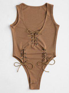 Snap Button Lace Up Bodysuit - Light Brown
