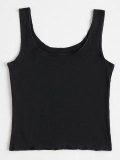 U Neck Plain Tank Top - Black M