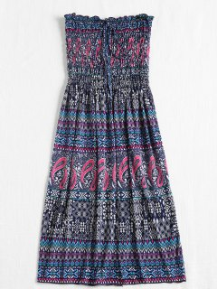 Smocked Bodice Tribal Strapless Midi Dress - Blue Whale