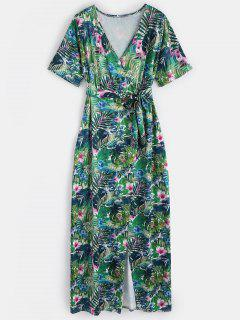 Floral Surplice Slit Maxi Dress - Green M