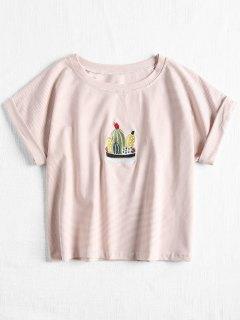 Camiseta Bordada Cactas A Rayas - Rosa Claro