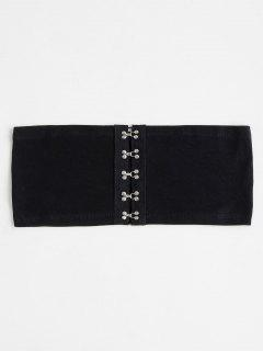 Cropped Hook And Eyes Tube Top - Black