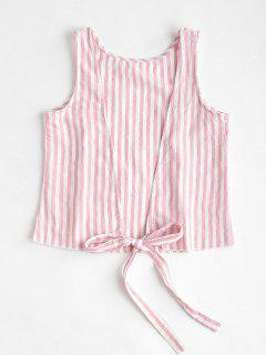 Striped Backless Tank Top - Pink S