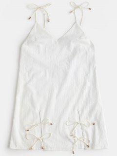 Open Back Plain Cami Dress - White L