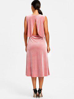 Velvet Drape Open Back Midi Dress - Pink L