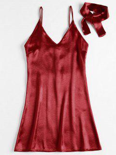 Back Zipper Satin Party Mini Dress - Red M