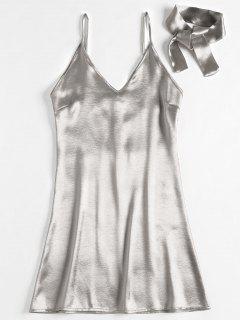 Back Zipper Satin Party Mini Dress - Silver S