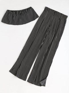 Stripes Tube Top And Wide Leg Slit Pants Set - Black L