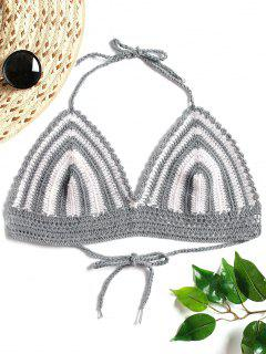 Striped Crochet Halter Bralette Crop Top - Gray