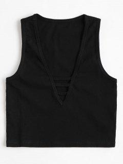 Hollow Out Cropped Tank Top - Black M