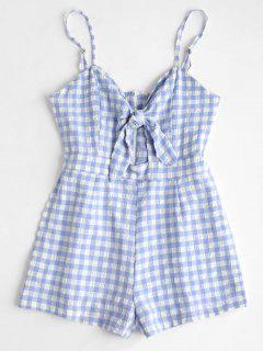 Cut Out Plaid Cami Romper - Sky Blue L