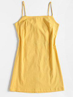 Tie Back Cut Out Slip Dress - Yellow S