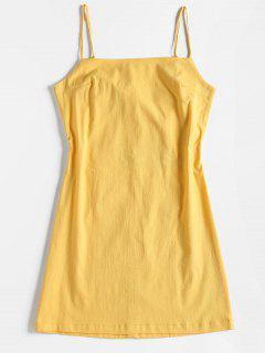 Knoten Rücken Ausgeschnitten Slip Kleid - Gelb L