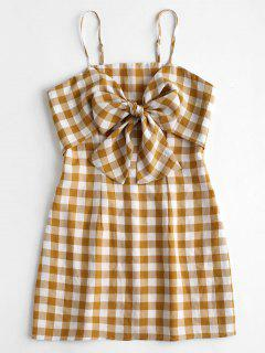 Spaghetti Strap Plaid Dress - Orange Gold M