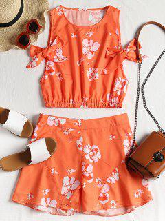 Floral Crop Top And High Waisted Shorts Set - Orange M