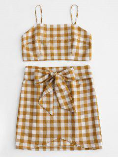 Plaid Cami Top And Skirt Set - Orange Gold L