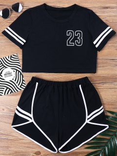 Contrast Binding Notch Shorts Two Piece Set - Black M