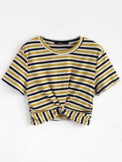 Striped Twist Knitted Tee - Multi S