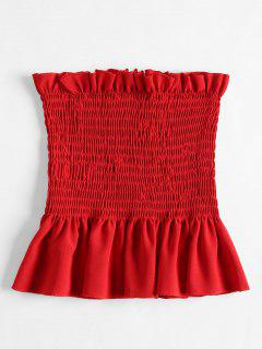 Shirred Ruffles Tube Top - Rojo