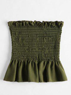 Shirred Ruffles Tube Top - Army Green