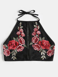 Halter Embroidered Patch Cropped Tank Top - Black M