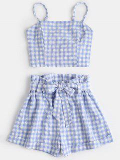 Plaid Cami Top And Belted Shorts Set - Light Blue L