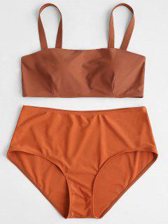 Padded Plus Size High Waisted Bikini Set - Halloween Orange 1x