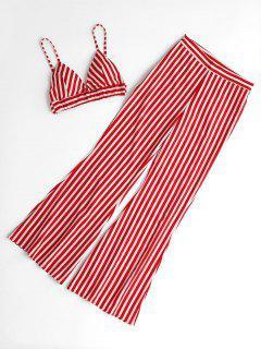 Striped Cami Top Y Loose Pants Set - Rojo S