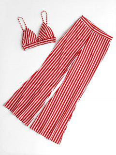 Striped Cami Top And Loose Pants Set - Red M