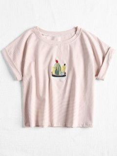 Striped Cactas Embroidered Tee - Light Pink