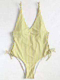 Side Lace Up High Cut Striped Swimsuit - Golden Brown M