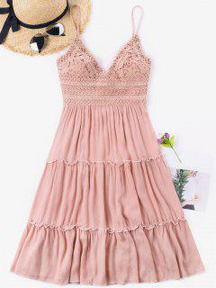 Crochet Empire Waisted Bowknot Back Dress - Light Pink M