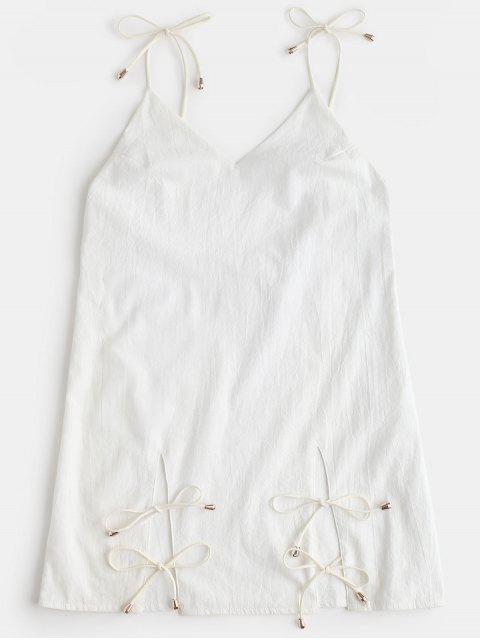 Vestido Cami liso con espalda abierta - Blanco L Mobile
