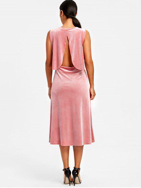 latest Velvet Drape Open Back Midi Dress - PINK L Mobile