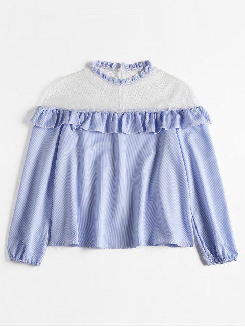 ladies Mesh Yoke Striped Ruffled Blouse - LIGHT SKY BLUE XL Mobile