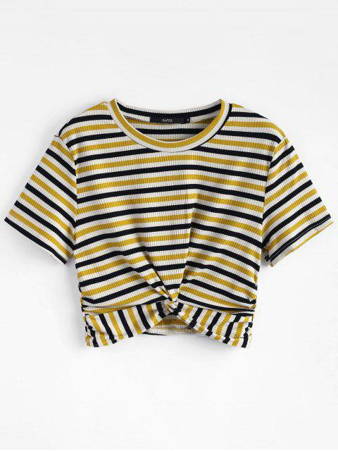 affordable Striped Twist Knitted Tee - MULTI M Mobile