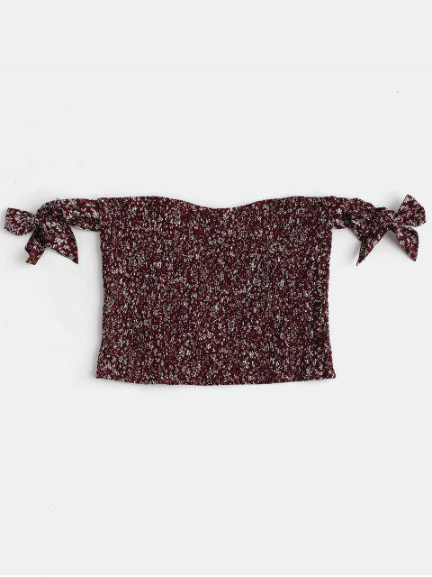 new Smocked Floral Print Blouse - RED WINE M Mobile
