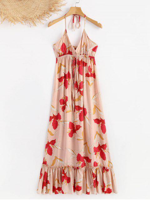 affordable Floral Drawstring Ruffles Halter Dress - MULTI L Mobile